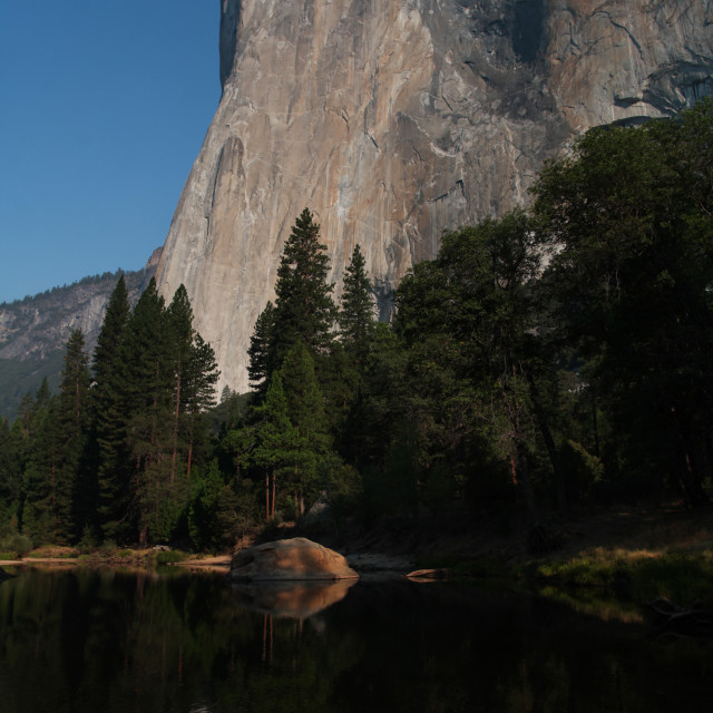 """El Capitan reflecting in the Merced River."" stock image"