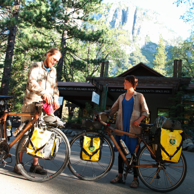 """Touring bicyclists on bamboo bikes in Yosemite National Park."" stock image"