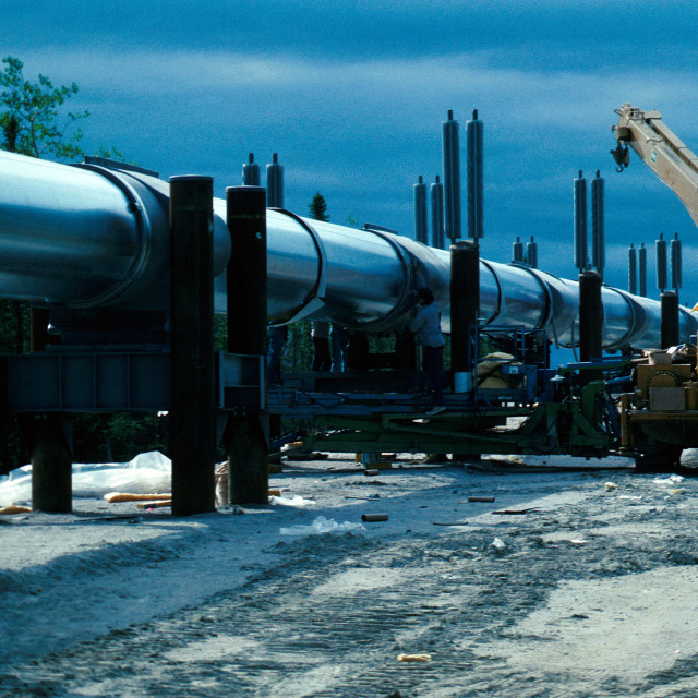 """""""Trans Alaskan Pipeline construction near the camp known as the """"Five Mile Camp"""", Alaska"""" stock image"""