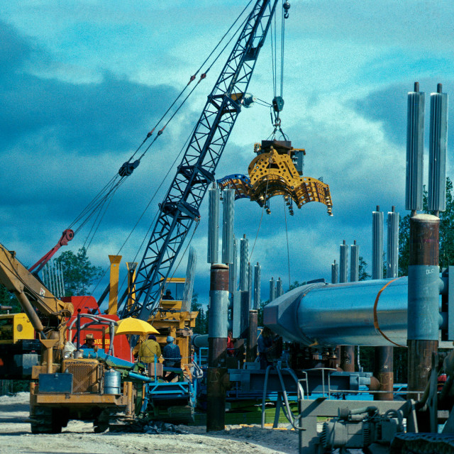 """Trans Alaskan Pipeline construction near the camp known as the ""Five Mile Camp"", Alaska"" stock image"