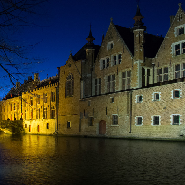 """Bruge at Night"" stock image"