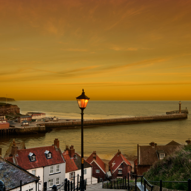 """Whitby Sunset"" stock image"