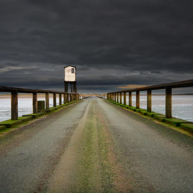 """Holy Island Causeway"" stock image"