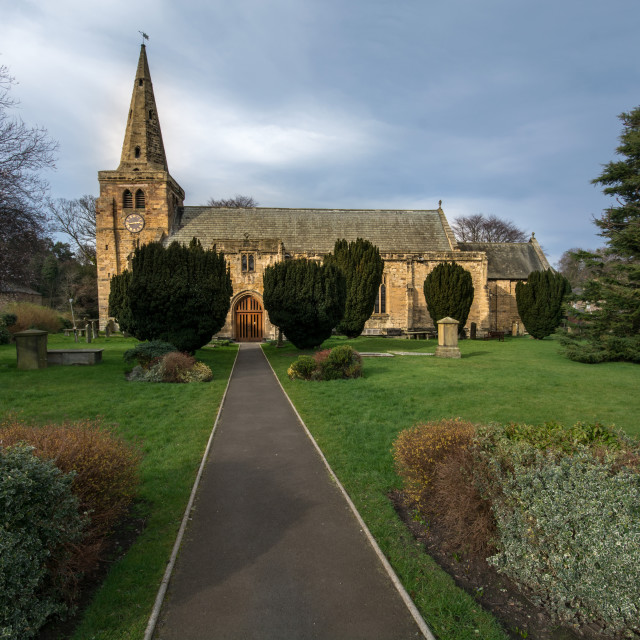 """St Lawrence Church, Warkworth"" stock image"