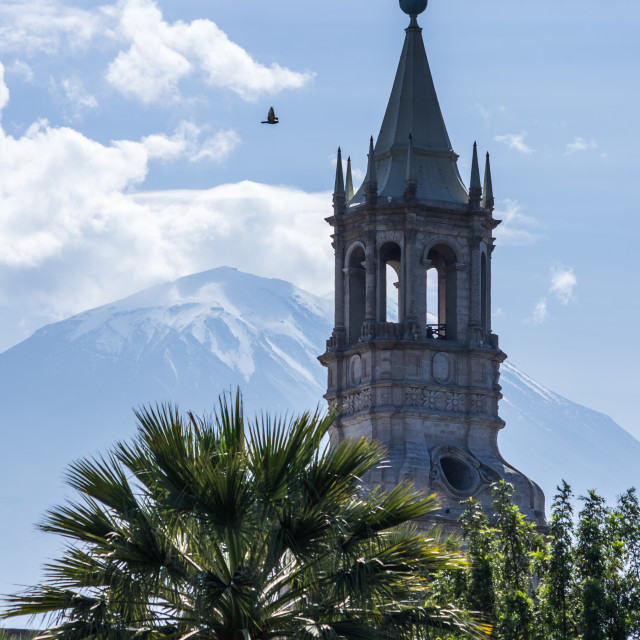 """""""El Misti and Arequipa Cathedral"""" stock image"""