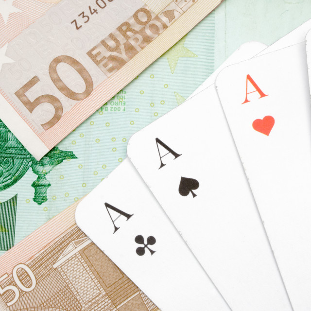 """Four Aces on Banknotes"" stock image"