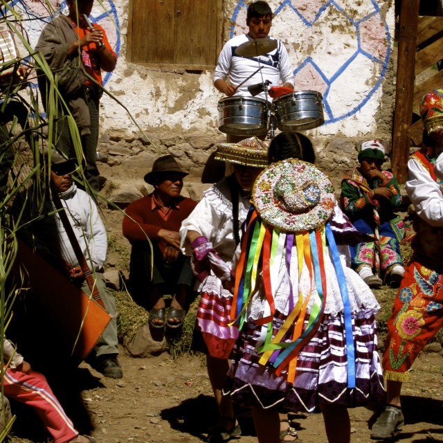 """Traditional Musicians, Peru"" stock image"