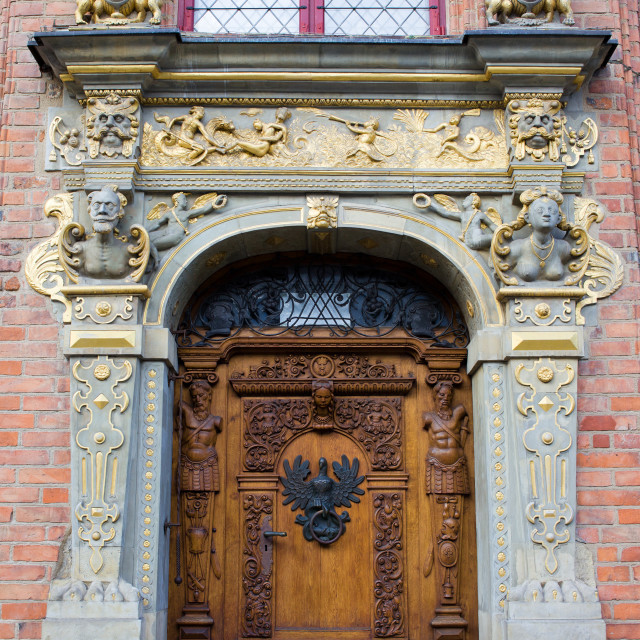 """Ornate Door in Gdansk"" stock image"