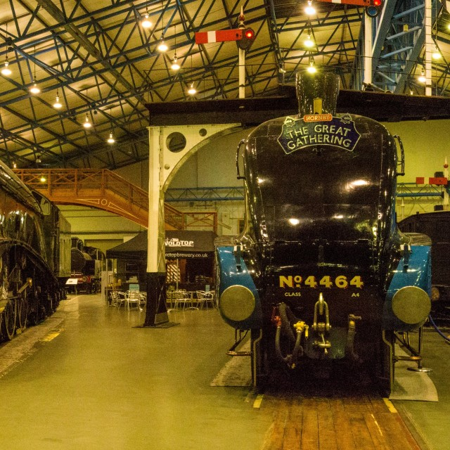 """Mallard and Brothers Steam Locomotives Super Panorama"" stock image"