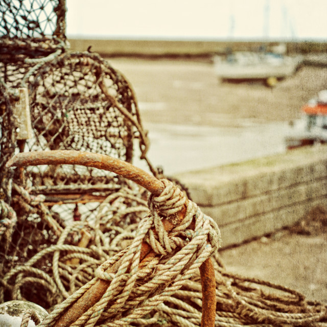 """Lobster pots on the quay"" stock image"