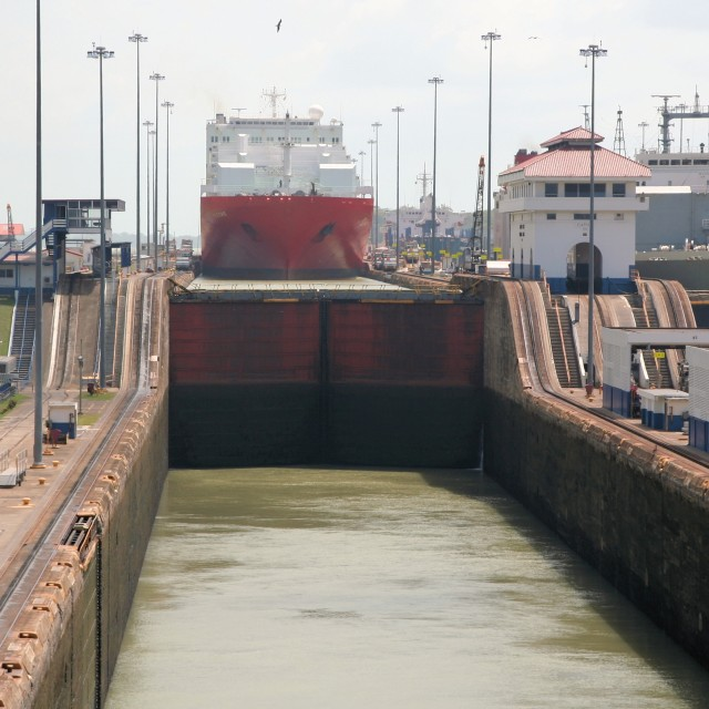"""Ship in Panama Canal locks"" stock image"