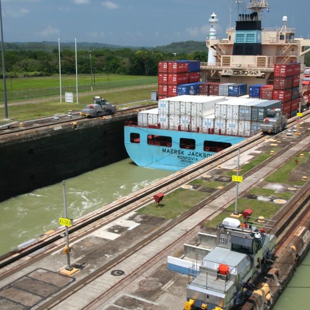"""Cargo ship in lock, Panama Canal"" stock image"
