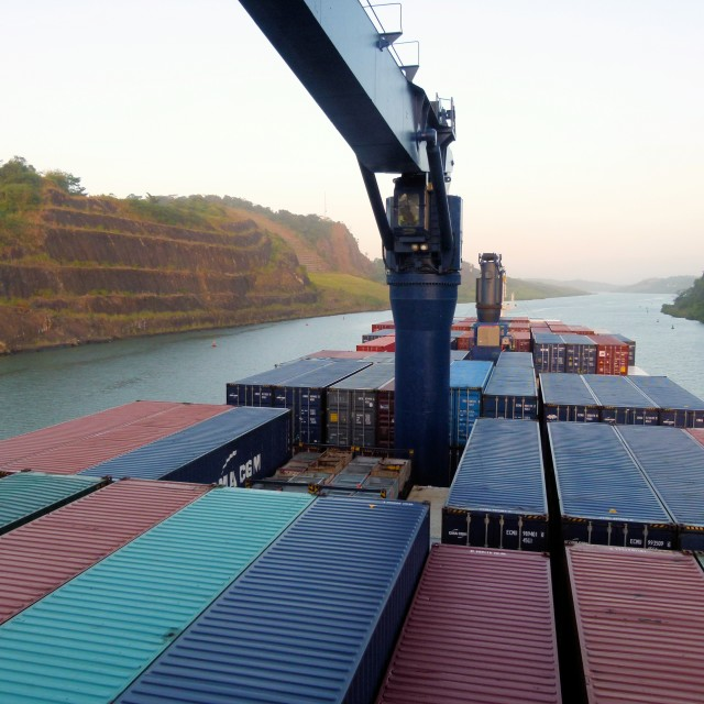 """Cargo ship in Panama Canal"" stock image"