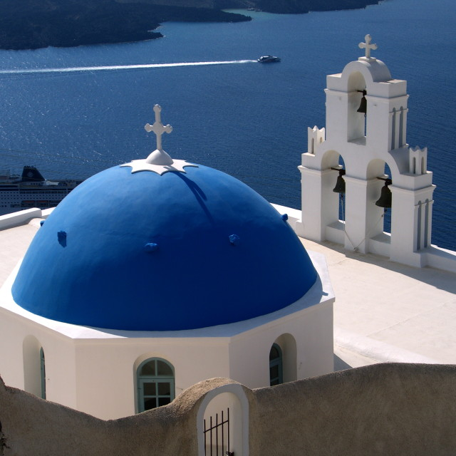 """Bold Blue Church in Santorini"" stock image"