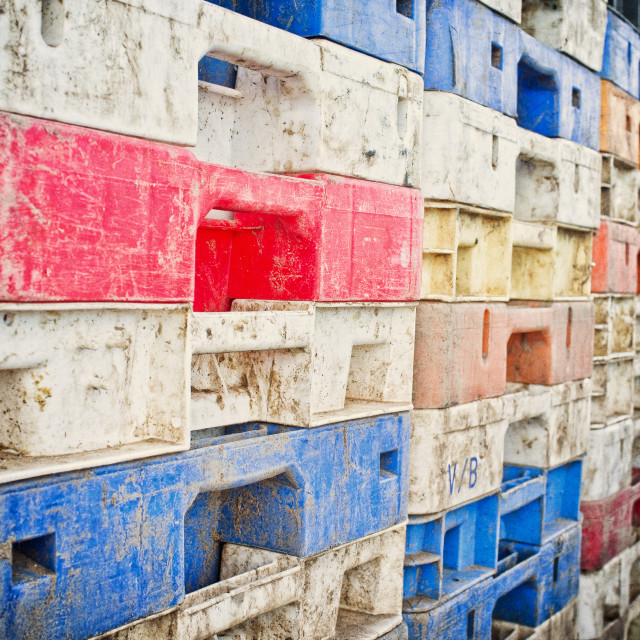 """Crates on the quay"" stock image"