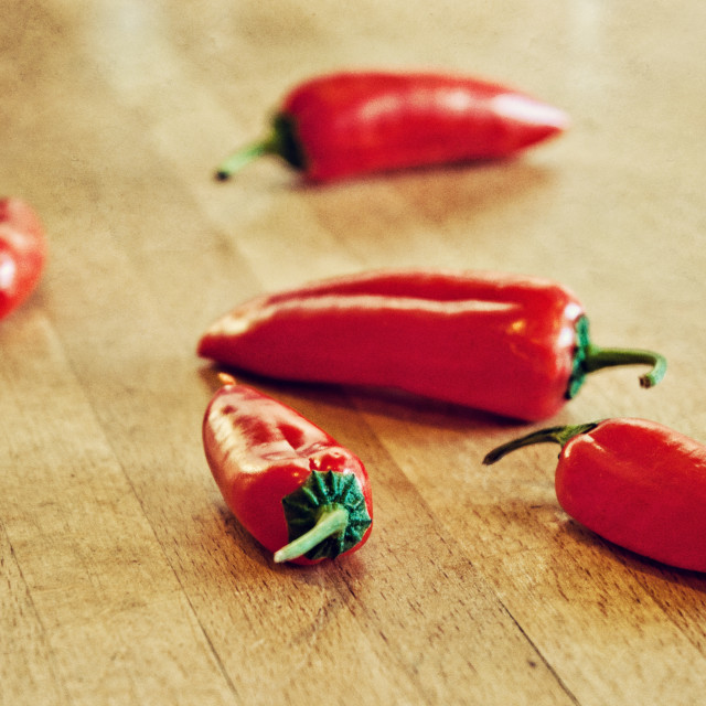 """Five Chilis"" stock image"