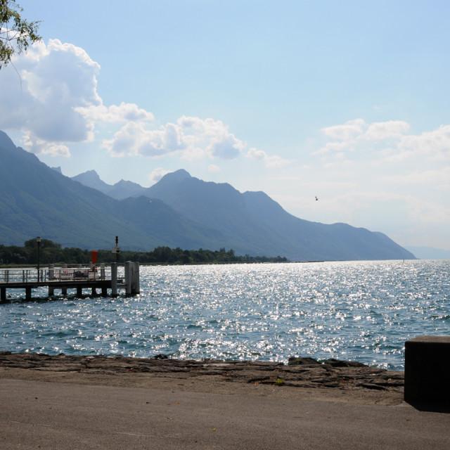 """Villeneuve, Switzerland"" stock image"