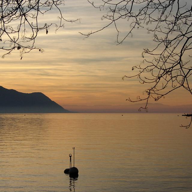 """""""Sunset on Lake Geneva from Montreux"""" stock image"""