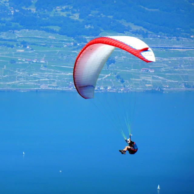 """Parapente over Lake Geneva"" stock image"