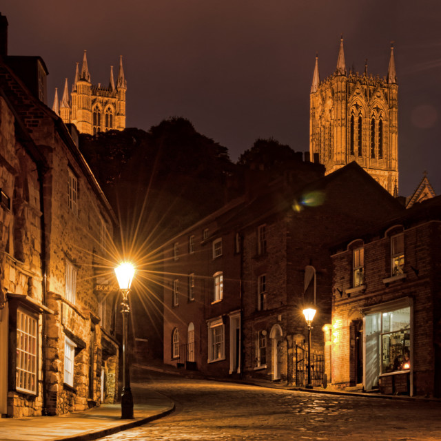 """Lincoln Cathedral from Steep Hill"" stock image"