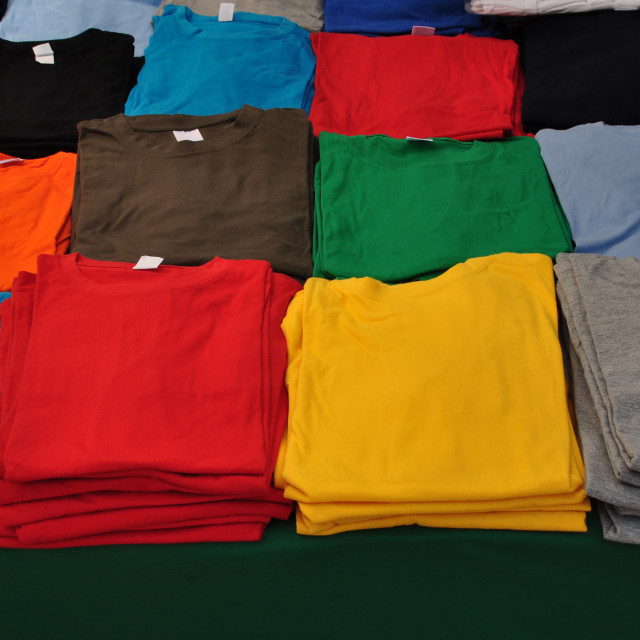 """folded t-shirts"" stock image"