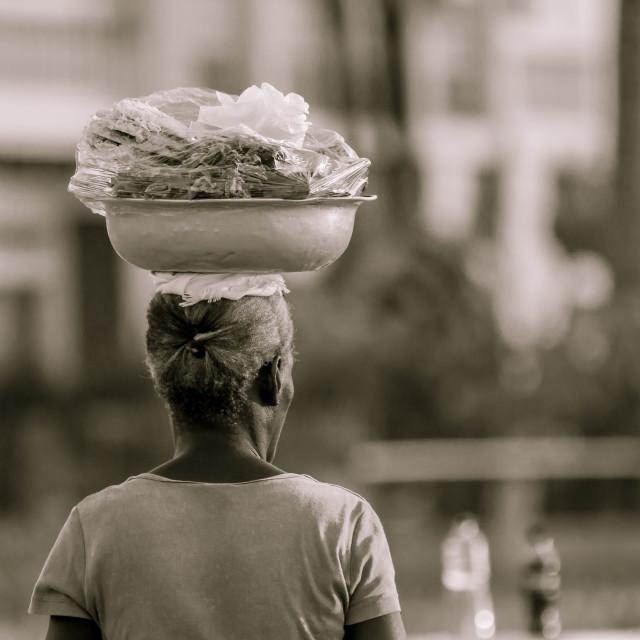 """""""Street Vendor (Sepia)"""" stock image"""