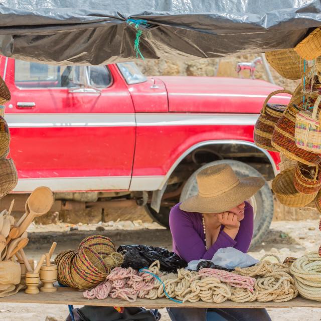 """""""The bored vendor"""" stock image"""