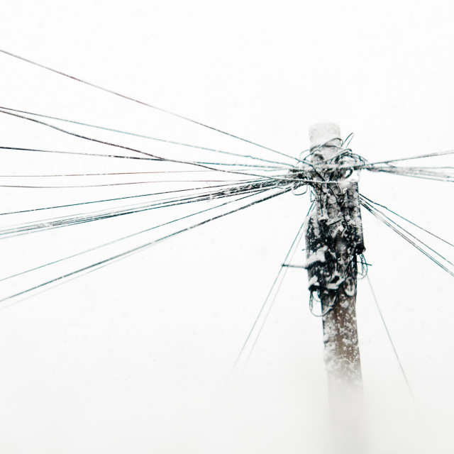 """Snowy telegraph pole"" stock image"