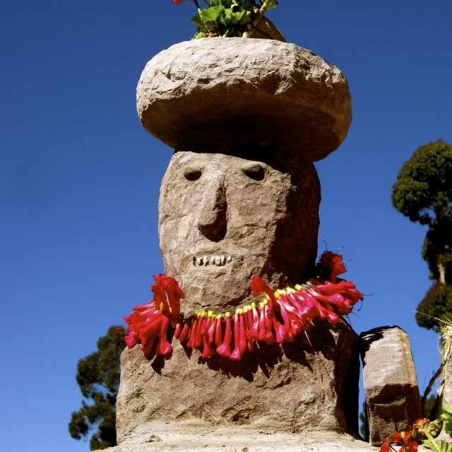 """Decorated Statue, Taquile Island, Peru"" stock image"