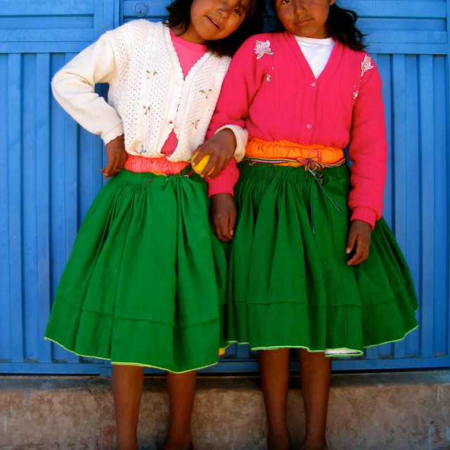 """Friends, Taquile Island, Peru"" stock image"