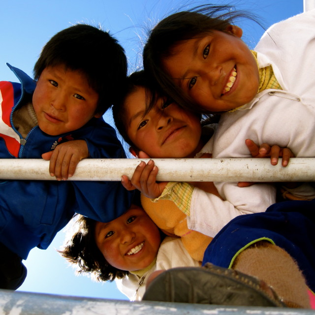 """Children, Taquile Island, Peru"" stock image"