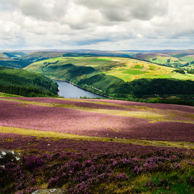 """Ladybower from Win Hill"" stock image"
