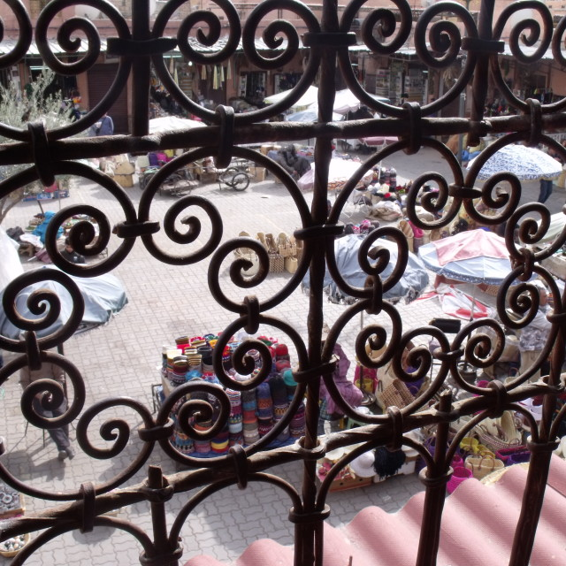 """Market through the railings"" stock image"