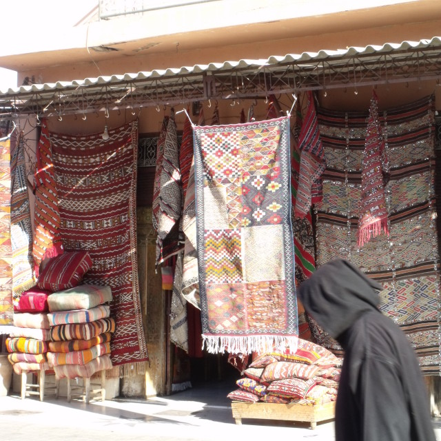 """Carpet shop Marrakesh"" stock image"
