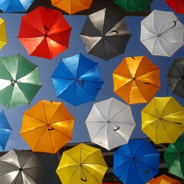 """Bright Coloured Umbrellas"" stock image"