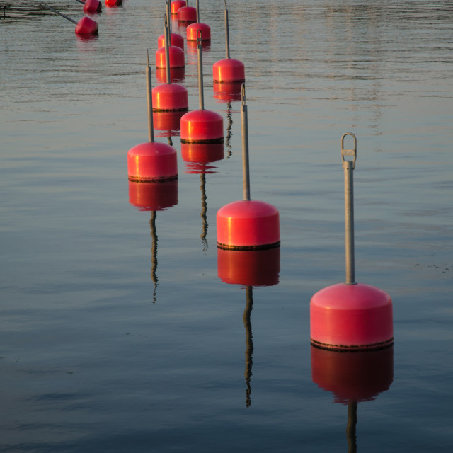 """Row of red bouys"" stock image"