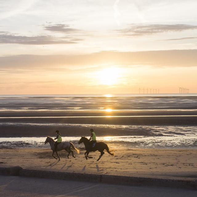 """""""New Brighton Beach Sunset"""" stock image"""