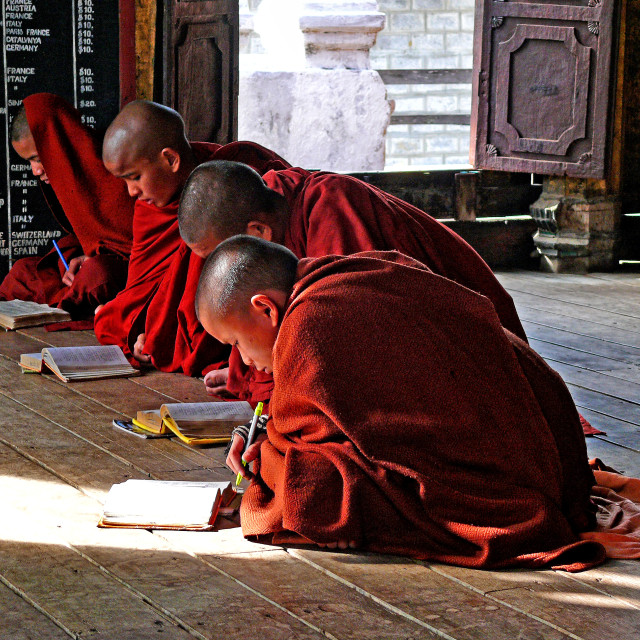 """MONKS STUDYING"" stock image"