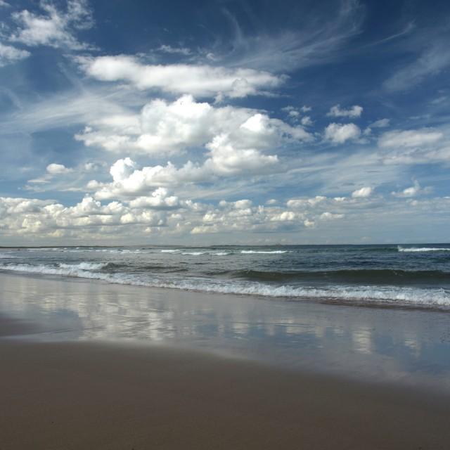 """the beach at Bamburgh Northumberland"" stock image"