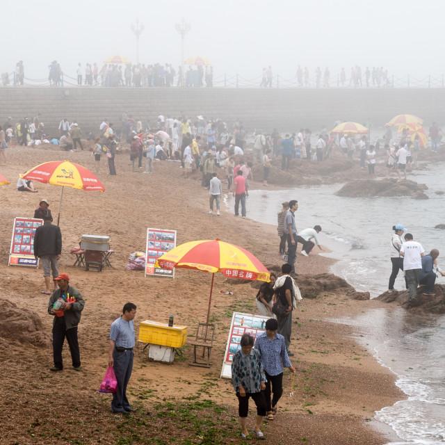 """""""Foggy No.6 beach, Qingdao"""" stock image"""