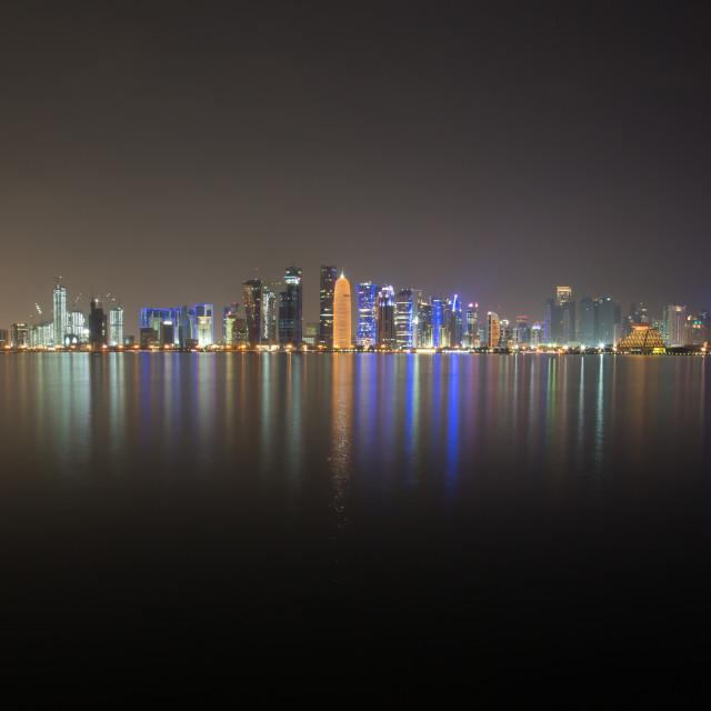 """Doha skyline at night"" stock image"