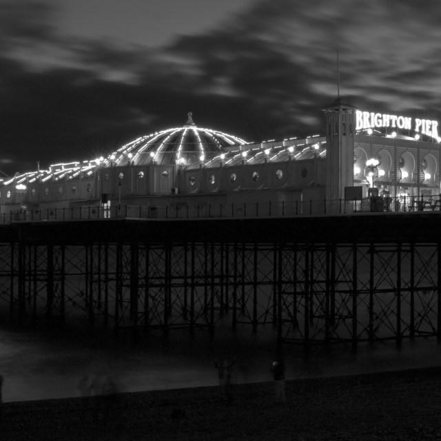 """brighton pier after dark"" stock image"