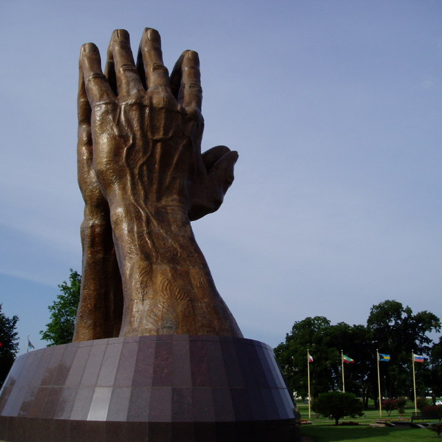 """Statue, Oral Roberts University, Oklahoma"" stock image"