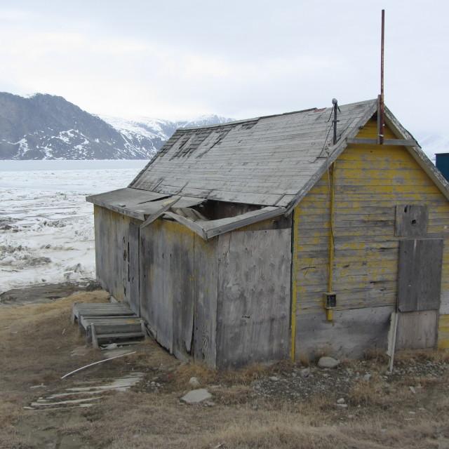 """Shack, Pangnirtung, Nunavut, Canada."" stock image"