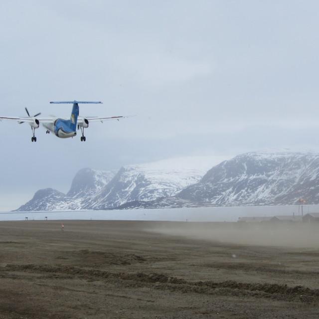 """""""Aircraft Leaving Pangnirtung."""" stock image"""