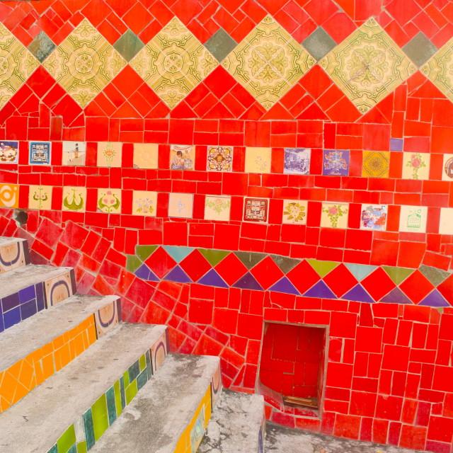 """""""Escadaria Selaron and Tiled Wall"""" stock image"""