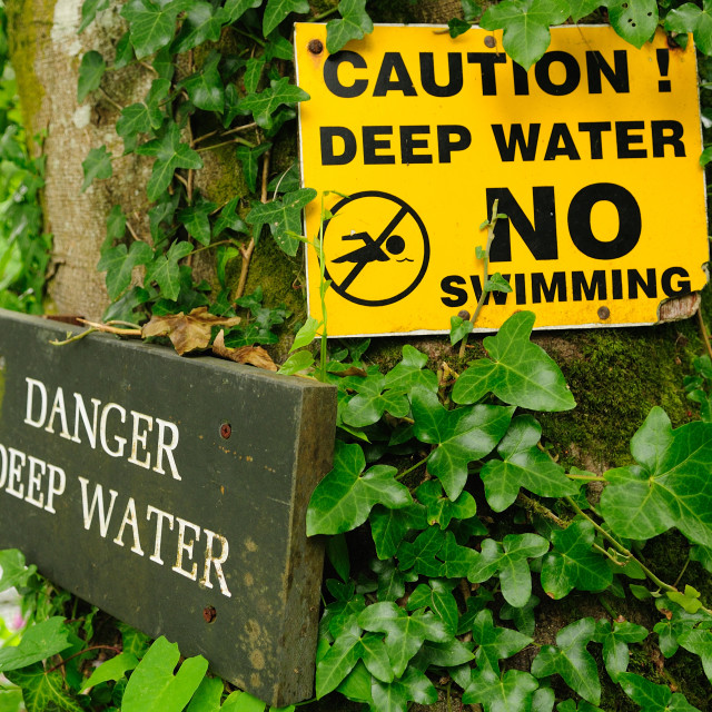 """Lake swimming warning deep water"" stock image"