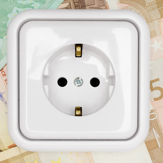 """""""Power Socket on Banknotes"""" stock image"""
