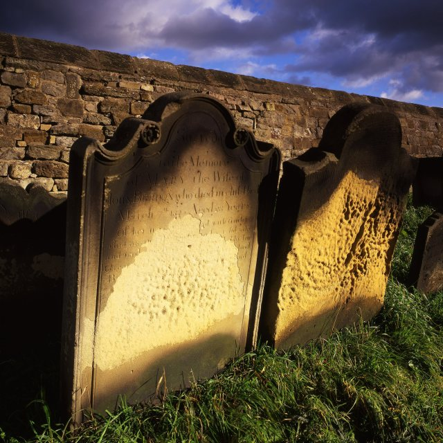 """Weathered Gravestones"" stock image"