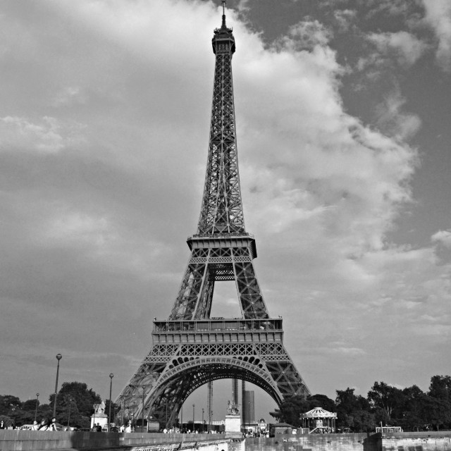 """""""Eiffel Tower, black and white (1)"""" stock image"""